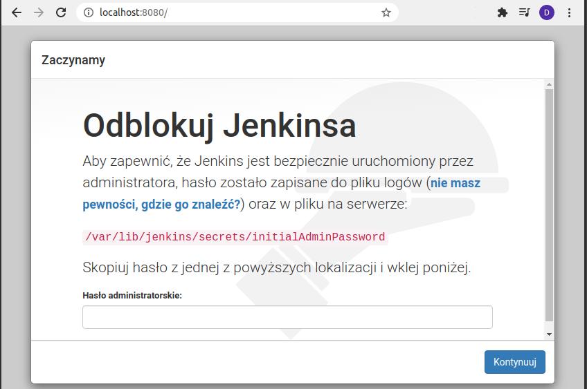 Jenkins instalacja - ekran powitalny